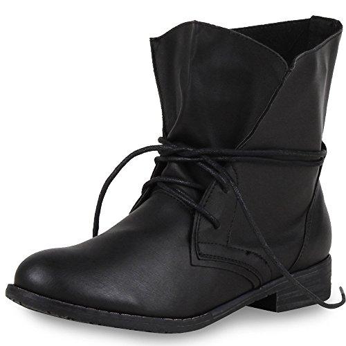 SCARPE VITA Damen Stiefeletten Schnürstiefeletten Leder-Optik Boots Basic 164138 Schwarz Schwarz 38