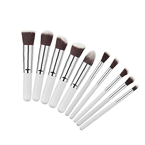 10 PCS avec manche en bois souple en nylon Soies Kabuki poudre blush liquide Eyeliner fard à paupières Lèvres Sourcils Brosse (Argent)