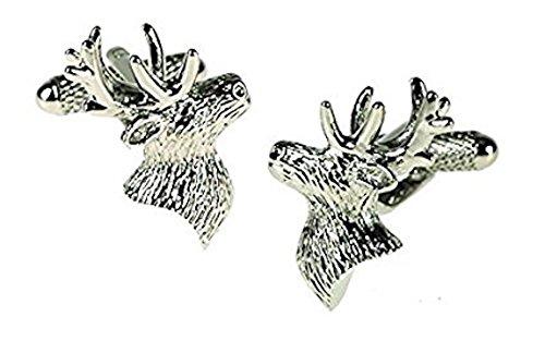 Onyx Art Boutons de Manchette en Forme de tête de cerf Coffret Cadeau