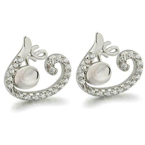 TIANYOU Novedad Joyas-Joyas Pendientes Mujer Pendientes plateados Letra de amor Forma Pendientes de las orejas de ancla Pendientes de mujer elegante Pendientes de plata con circonit