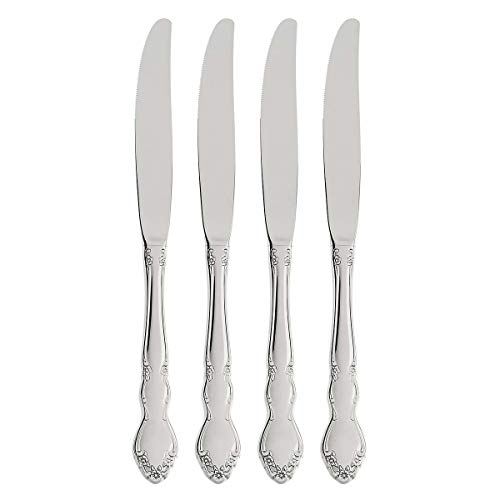 Oneida Dover Fine Flatware Dinner Knives, Set of 4 , 18/10 Stainless Steel, Silverware Set, Dishwasher Safe
