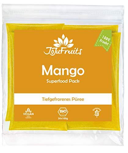 JoJu Fruits - Bio Mango Püree - 48 Smoothie Packs - Tiefgefrorenes Mango-Fruchtpüree