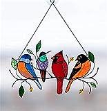 Persönlichkeit Vögel Fensterbehänge Sonnenfänger, Mehrfarbige Vögel Auf Einem Draht Hochglas Glas Sonnenfänger Fensterplatte, Kristall Regenbogen Sonnenfänger,Bird Series Anhänger Wohnkultur (A)
