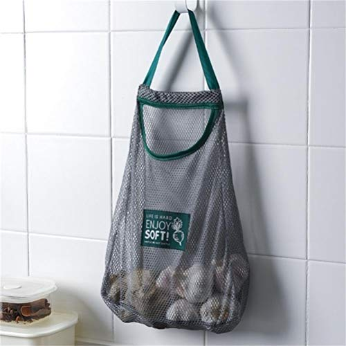 Bolsa de almacenamiento de malla tejida de la cocina, reutilizable, para frutas y verduras, bolsa de la compra de la tienda de comestibles de algodón bolsa de malla