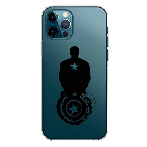 SLIDE IP12 Pro MAX TPU Funda Gel Transparente Carcasa Case Bumper de Impactos y Anti-Arañazos Espalda Cover, Black Hero Colección Collection, Captain America Negro, iPhone 12 Pro MAX