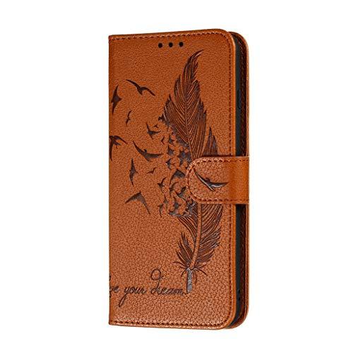 HAOTIAN Hülle für Xiaomi Mi Note 10 Lite Handyhülle, Ziemlich Retro Geprägt Feder Muster Design PU Leder Buch Stil Brieftasche Flip Cover, Xiaomi Mi Note 10 Lite Schutzhülle, Braun