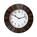 YIXIN2013SHOP Reloj Clásico Reloj de Pared Redondo de 16 Pulgadas, Esfera de Cristal, decoración de Pared Creativa for Sala de Estar (marrón) Reloj de Pared Silencioso