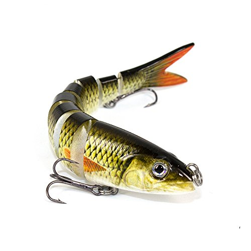 LKQBBSZ 8 Segment Swimbait Lures Fishing Lures Hard Bait Minnow VIB Lure with Treble Hook Life-Like Swimbait Fishing Bait 3D Fishing Eyes Popper Crankbait Vibe Sinking Lure for Bass Trout Walleye