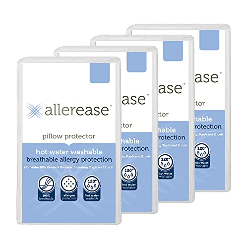 Aller-Ease Hot Water Washable Hypoallergenic Zippered Pillow Protectors, Allergist Recommended, Prevent Collection of Dust Mites and Other Allergens, Standard/Queen Sized, 2 count (Pack of 2), White