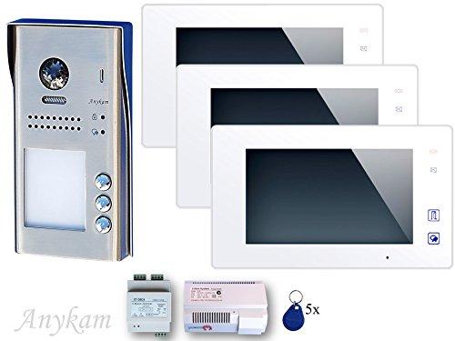 Farb-Video-Türsprechanlage in 2-Draht-Technik für 3-Familien mit RFID-Zutrittskontrolle und Touch-Screen TFT-Monitor inkl. Bildspeicher
