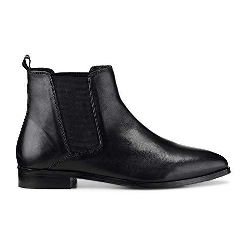 Another A Damen Chelsea-Boots aus Leder, Kurzschaft-Stiefel in Schwarz mit spitzer Leisten-Form Schwarz Glattleder 39