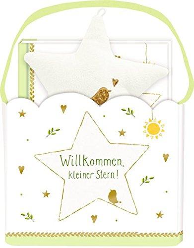 Geschenkset - Willkommen, kleiner Stern!: Geschenktäschchen mit Plüschstern und Büchlein