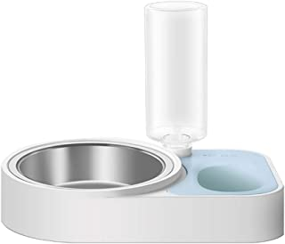 ASENVER ペットボウル フードボウル ウォーターボトル 自動給水器 ダブルボウルスタンドセット えさ皿 えさ入れ 猫犬 食器 (ブルー)