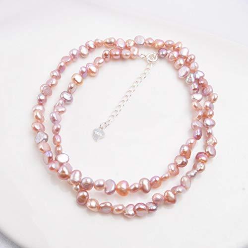 yuge Collar de Perlas de Agua Dulce Natural Collar Joyas de Perlas para Mujer Boda Hebilla de Plata 925 Morado