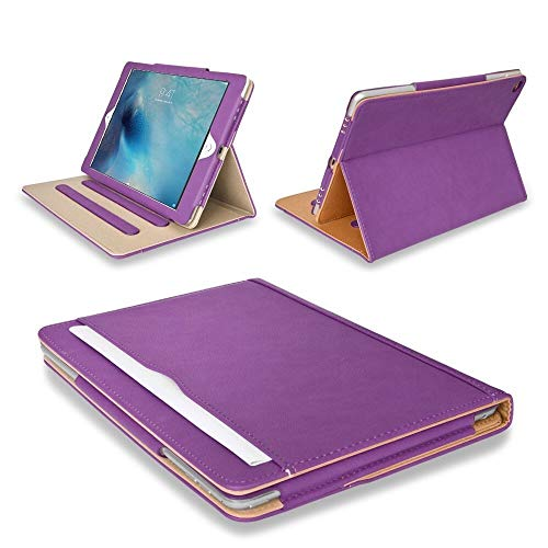 """MOFRED Purple & Tan Apple iPad Air 2 (Launched 2014) Leather Case-Executive Multi Function Leather Standby Case for Apple iPad Air 2 with Built-in magnet for Sleep & Awake Feature - Voted #1 Best iPad Case by """"The Daily Telegraph"""" (iPad Models A1566 A1567)"""