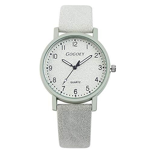 Msltely Relojes de Mujer GOGOEY Marca Reloj DE Moda Mujer Reloj DE RESERVAS DE Cuero Correa DE CUERA Muchacha Mujer Reloj DE Las Mujeres DE DAMIAS Veste Hora MONTRE Femme (Color : White)