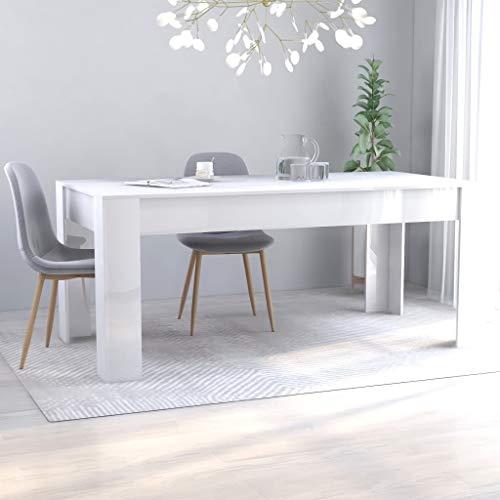 SKM Tavolo da Pranzo da Sala 160x80x76 cm/180x90x76 cm in Truciolato Minimalismo (Bianco Lucido, 180x90x76 cm)