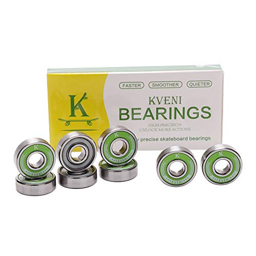 KVENI Premium Skateboard Bearings, Pro-Longboard Bearings, High-Speed 608rs-Ball Skate Bearing ABEC – for Skateboard, Quad Skate, Inline Rollerblades, Scooters Wheels and Spinners (Pack of 8) (Green)