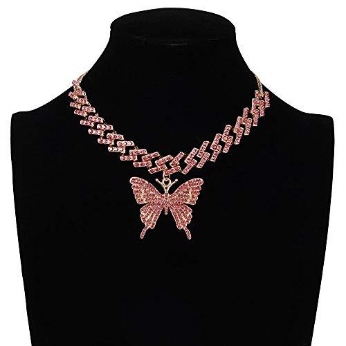 Collares Colgante Joyas Cadena De Mariposa De Moda Helada Cadena De Eslabones Cubanos Collar De Mariposa Gargantilla para Mujer Joyería De Hip Hop Joyería De Hielo-Pink_Color