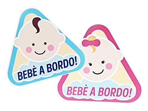 Due adesivi in vinile Bebè A Bordo/Bebè In Car - Lui & Lei - Etichetta Sticker Per I Bambini - Personalizzazione Auto