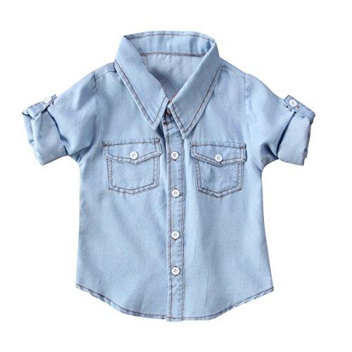 Honganda Fashion Kids Toddler Baby Boy Girl Adjustable Sleeve Denim Shirt Tops Blouse (Denim, 6-12 Months)