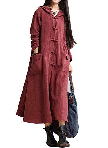 Maleroads Women Cotton Linen Long Sleeve Dress Coat Hooded Jacket Trench Red