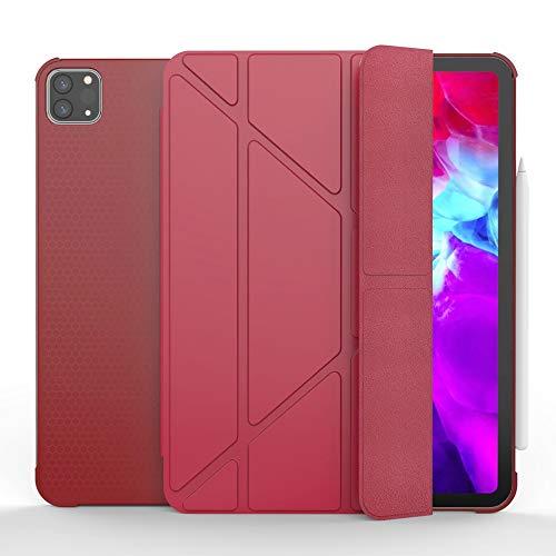 QiuKui Tab Funda para iPad Pro 11 2020, Soporte de lápiz Smart Sleep Wake PU Cuero Trifold Y Forma Soporte Funda para iPad Pro 11 (Color : Rojo, Talla : For iPad Pro 11 2020)