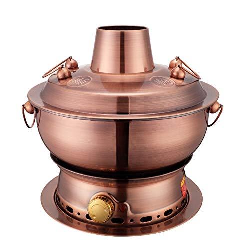 ZOUJUN Cuivre Arts de la Table en Acier Inoxydable Alcool Hot Pot Petit Hot Pot Main Cuivre Hot Pot d'extérieur Poêle Vieux Beijing Chinese Grand Hot Pot (Taille Multiples Options) (Size : 30CM)