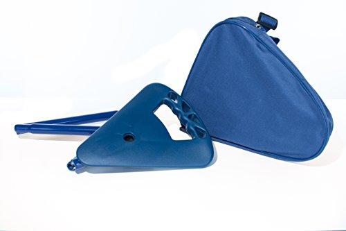Sitzstock Gehstock Wanderstock faltbar und höhenverstellbar inkl. Umhängetasche und Kofferanhänger dunkelblau