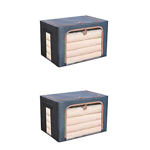Parshall 2 cajas de almacenamiento de escritorio Cestas de almacenamiento con cremallera, de almacenamiento para el hogar y la oficina, el armario, los contenedores de almacenamiento azul marino 2