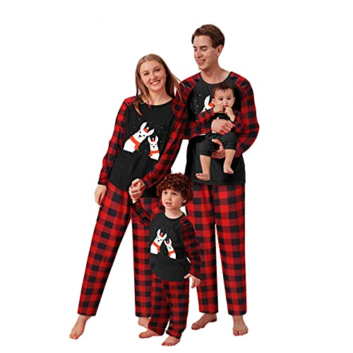 Alueeu Conjunto de Pijamas Navideños para Familia Padre Madre Bebé Camiseta Manga Larga + Pantalones Largos a Cuadros con Estampado de Alces Camisón Casual Homewear