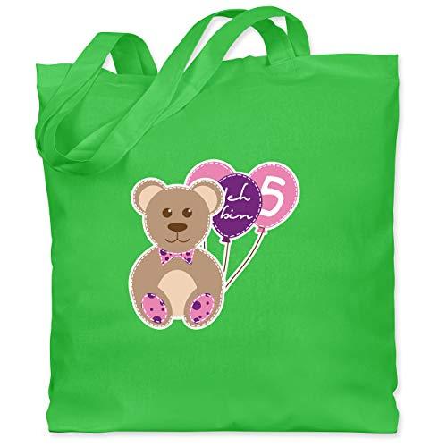 Shirtracer Geburtstag Kind - Ich bin 5 Mädchen Bär Luftballons - Unisize - Hellgrün - Geschenk - WM101 - Stoffbeutel aus Baumwolle Jutebeutel lange Henkel