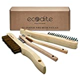 [Wire Brush Set for Cleaning 4-Pack Multi Purpose Beechwood Handle Medium & Small, Brass & Stainless Steel Wire Scratch Brush for Rust, Paint, Welding, Heavy & Light Household Cleaning