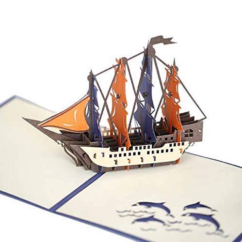 Handgemachte 3D-Pop-up-Karte mittelalterliche Galeone Boot Militär Schiff Geburtstag, Vatertag, Muttertag, Hochzeitstag, verlassen, Urlaubseinladung