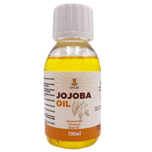 100 ml - Aceite de Jojoba BIO + Prensado en Frío. Aceite jojoba antioxidante, antienvejecimiento. Aceite corporal hidratante y aceite cabello grasos. Puro y Natural.