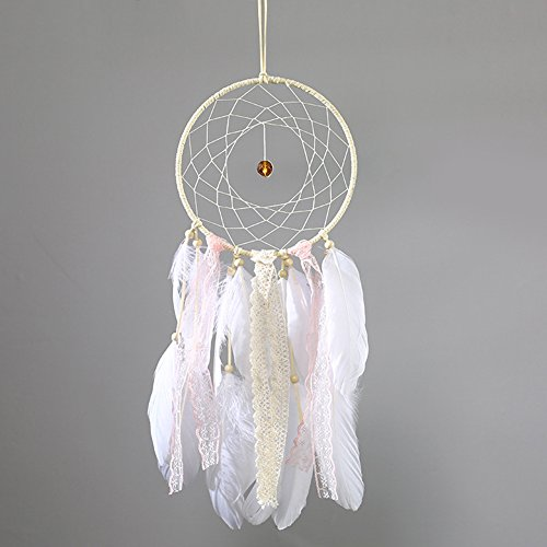 Tree of Life Traumfänger Glow in the Dark handgefertigt mit Perlen Feder Quaste Wand hängende Dekoration Room Decor Party Hochzeit Ornament – Weiß Stil Nr. 4