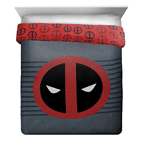Jay Franco Marvel Deadpool Stripes Full/Queen Comforter, Red