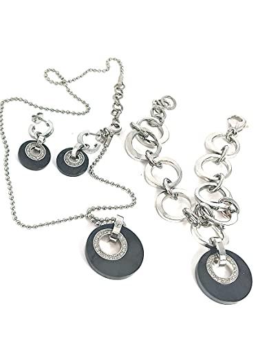 DESIGNER - Juego de pendientes y collares ONYX y pulsera ajustable para mujer, plata sin deslustre y sin desgaste de noche, joyería hecha a mano para esposa, prometida, regalo de cumpleaños para ella
