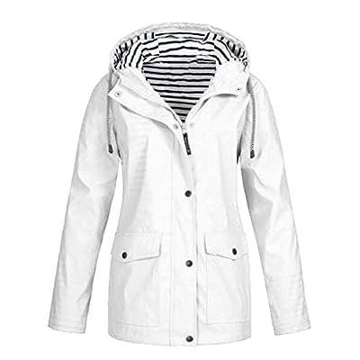 Keepmove Coat for Women Winter Sale, Women Solid Rain Jacket Outdoor Plus Waterproof Hooded Raincoat Windproof(White, Small)