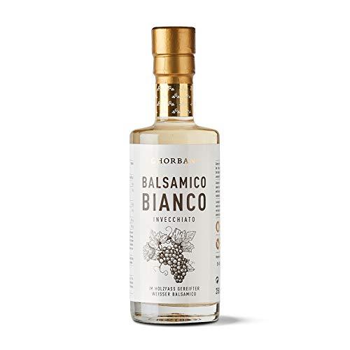 GHORBAN Aceto Bianco (250ml) - Weißer Balsamico Essig (Aceto Balsamico di Modena IGP), Balsamico Essig ohne Zucker, 5 Jahre gereift: Alter Balsamico weiß, original Aceto Balsamico Modena