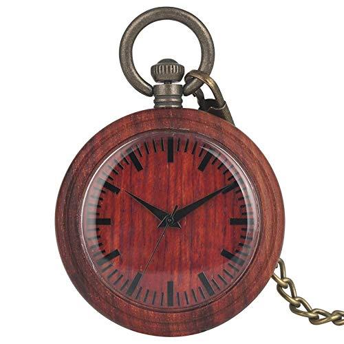 WHSW Reloj de Bolsillo Vintage, Reloj de Bolsillo analógico de Cuarzo de Madera roja, Reloj de Cadena de Reloj de Madera estándar portátil, coleccionables, Regalos de Recuerdo para Hombres y muje
