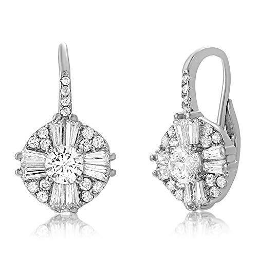 MIA SARINE Sterling Silver Cluster Drop Antique Look Cubic Zirconia Leverback Earrings for Women