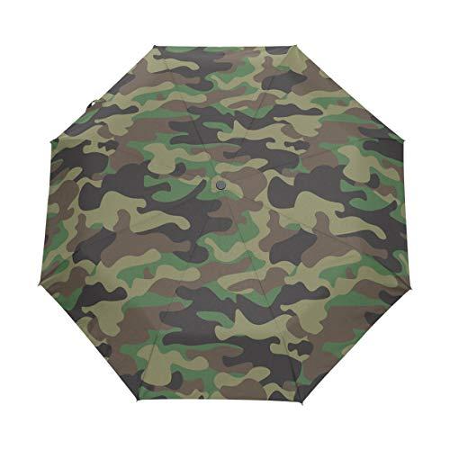 WowPrint winddichter kompakter Regenschirm, Camouflage-Camouflage, tragbar, leicht, Reise-Regenschirme für einfachen Transport