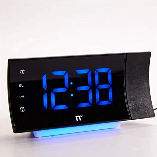 LBPF Projektion Digitaluhrradio Für Schlafzimmer Decke Mit USB-Ladegerät, 180 ° Drehbare Gekrümmte LED-Anzeige Dual-Alarme, FM-Funkfunktion Mit Temperaturanzeige