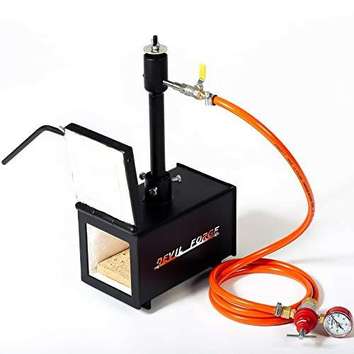 Forja de gas propano - DFPROF1+1D | con 1 quemador DFP (80,000 BTU) y 1 puerta | para herreros y fabricantes de cuchillos para el trabajo de forja | Alta calidad Portátil Potente
