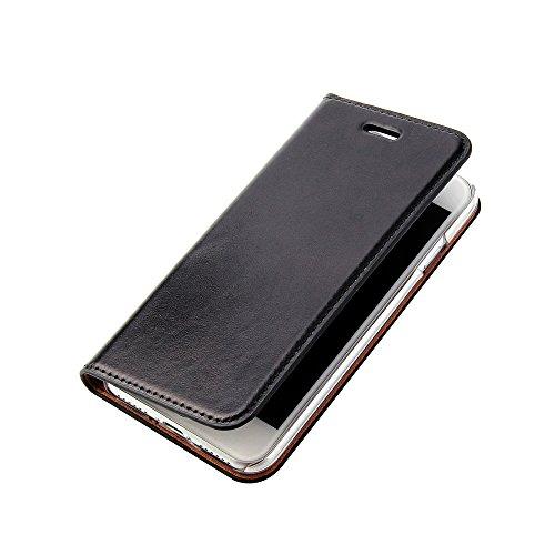 Wormcase Echt Ledertasche - für Apple iPhone SE 2020 und iPhone 8/7 - Handytasche mit Kartenfach – Magnetverschluss - Schwarz - Klapphülle/Schutzhülle