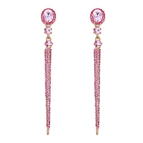 Clearine Orecchini Moda moda Cristallo Ovale Lungo perlina Bar Lampadario Orecchini pendente Rose-Oro-fondo