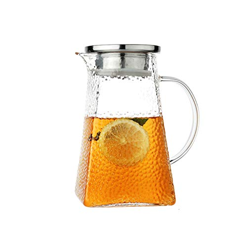 Jarra de Agua Jarra de vidrio martillado con tapa cuadrada de vidrio con tapa cuadrada con tapa de oleCranon No-goteo se puede usar para té, leche, jugo, wate Tetera para té Helado ( Capacity : 1.8L )