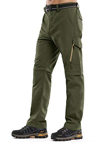 Asfixiado Hiking Pants Mens Convertible Quick Dry Lightweight Zip Off Outdoor Fishing Travel Safari Pants #6088 Green-34