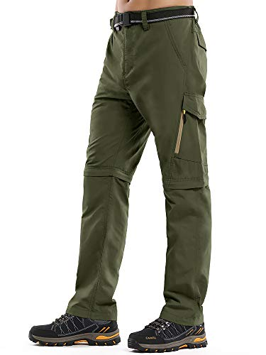 Asfixiado Hiking Pants Mens Convertible Quick Dry Lightweight Zip Off Outdoor Fishing Travel Safari Pants #6088 Green-34